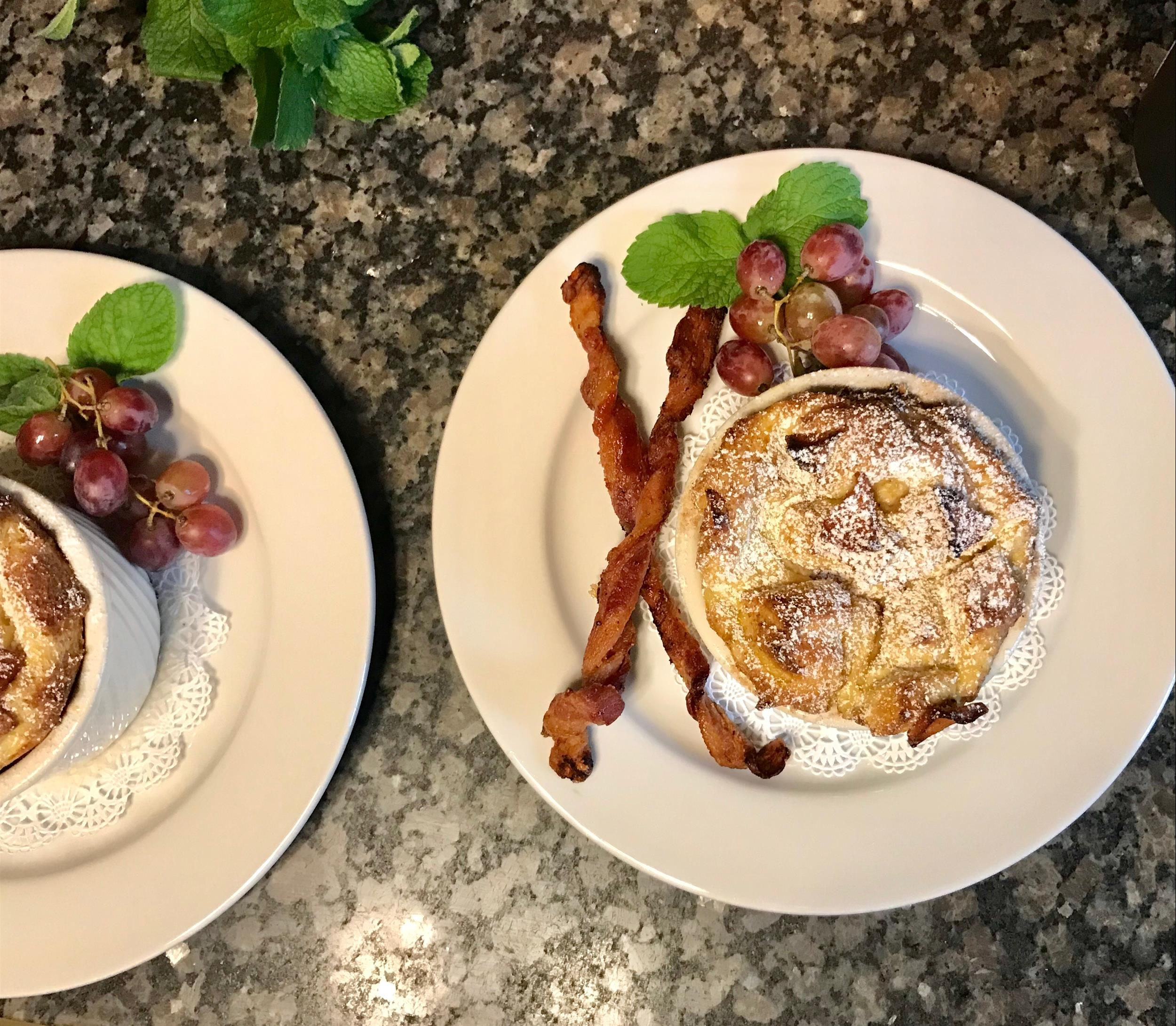 French Toast Souffle with Twisted Bacon at Felt Manor