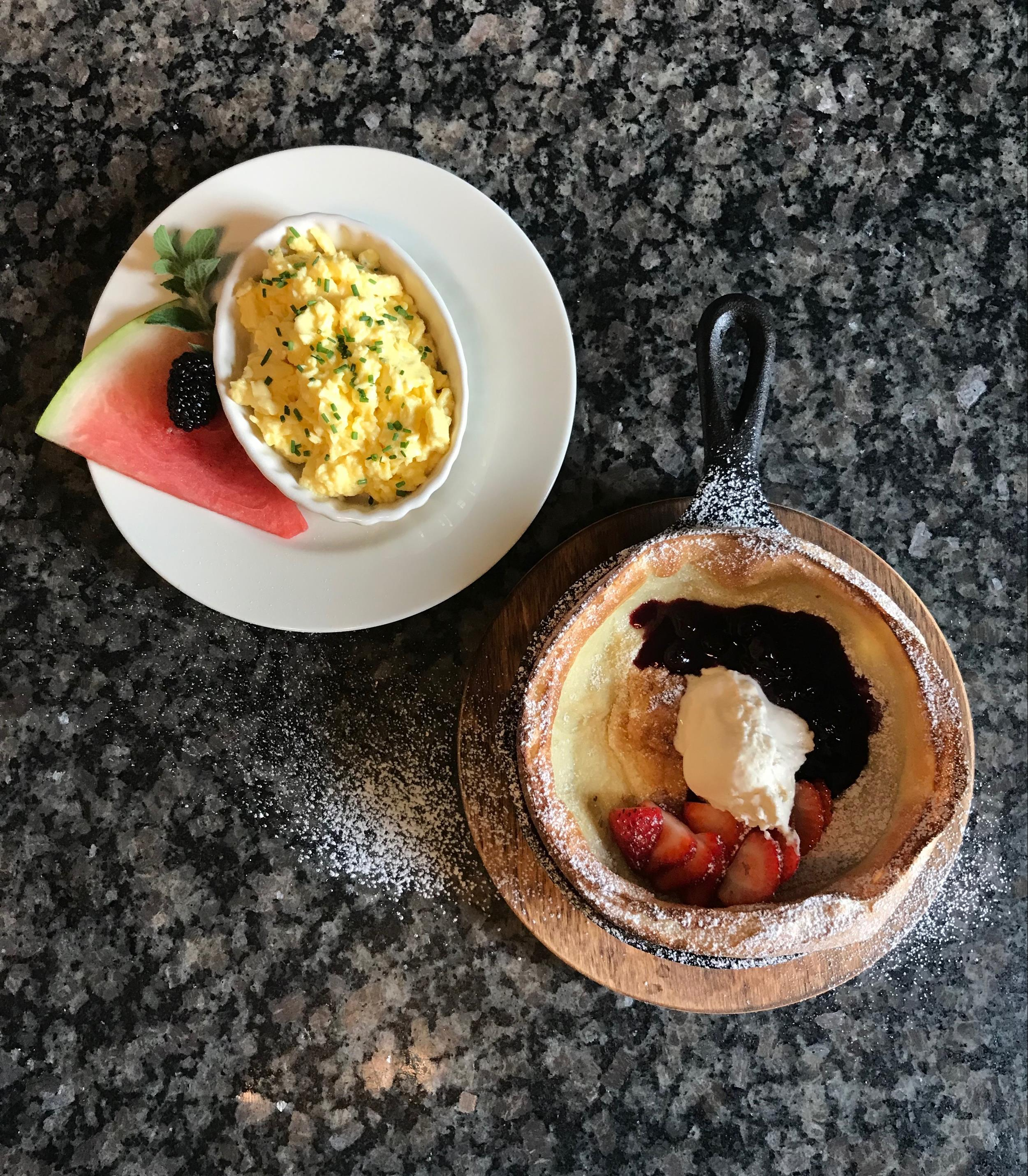 Dutch Baby Pancake with Chive Scrambled Eggs at Felt Manor